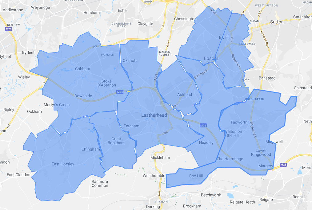 Area services map of Surrey Prestige Bin Cleaning